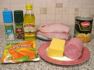 Куриное филе, фаршированное сыром, ветчиной и ананасами. Ингредиенты