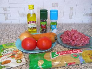 Спагетти с фаршем. Ингредиенты
