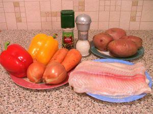 Рыба с картофелем, запеченная в фольге. Ингредиенты