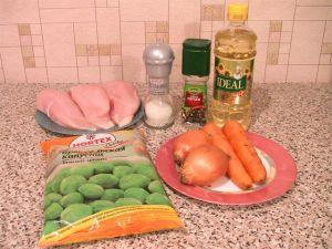 Куриное филе, жаренное с брюссельской капустой. Ингредиенты