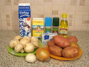 Запеканка с грибами и картофельным пюре. Ингредиенты