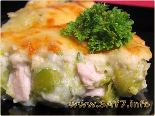 Куриное филе и брюссельская капуста под соусом Бешамель