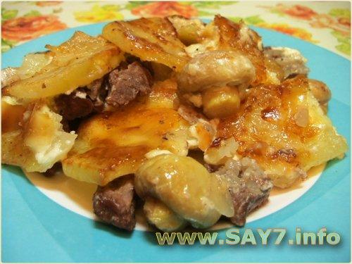 Говядина, жаренная с картофелем и грибами
